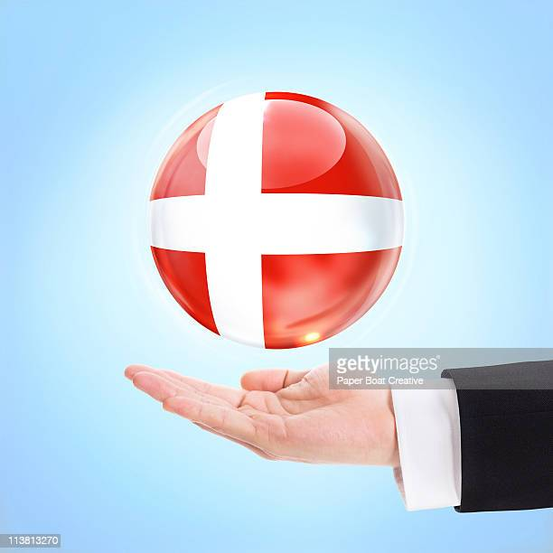 Flag of Denmark being supported by a hand