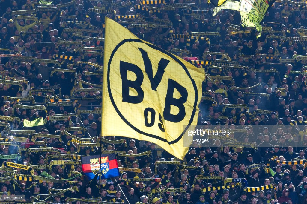 A flag of Dortmund is seen prior to the Bundesliga match between Borussia Dortmund and Hannover 96 at Signal Iduna Park on March 18, 2018 in Dortmund, Germany.