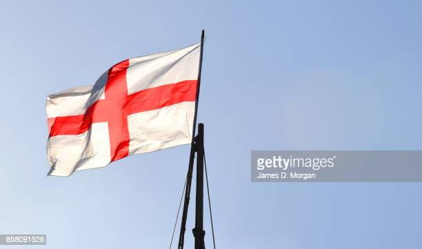 Flag of England in the sky on a sunny day at Bristol England in August 5th 2017
