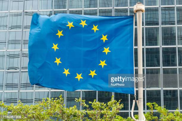 Flag of Europe or European Glaf is the symbol of Council of Europe Coe and The European Union EU as seen in the Belgian capital Brussels in front of...