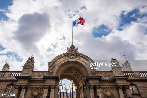 Pavillon de la France à la porte d'entrée du Palais de l'Elysée, Paris, France