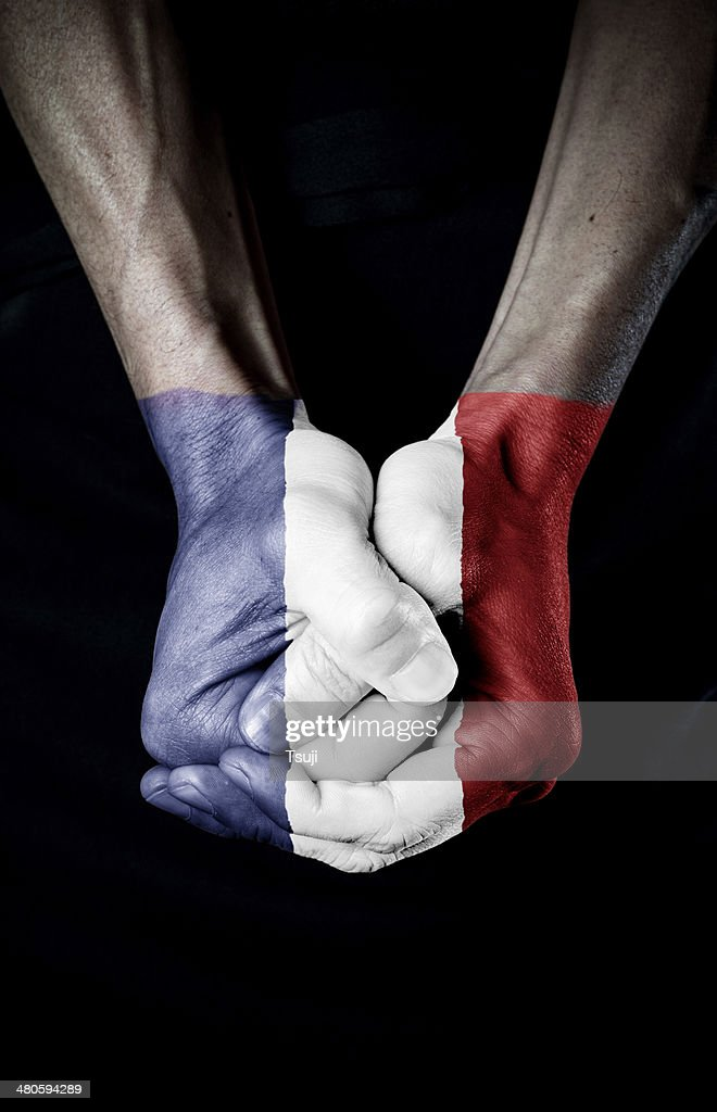 Flag of France on fist : Stock Photo