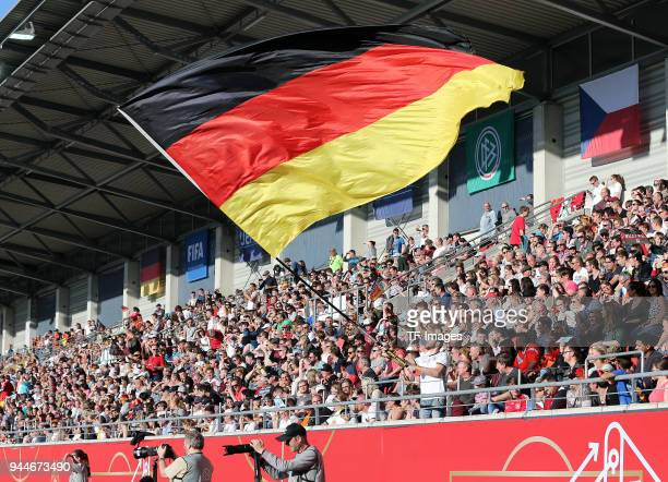 Flag of Germany are seen during the 2019 FIFA Womens World Championship Qualifier match between Germany Womens and Czech Republic Womens at...