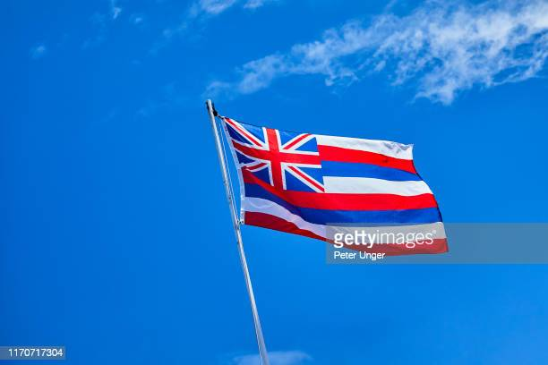 flag of hawaii flying in the breeze,lahaina,maui,hawaii,usa - hawaii flag stock pictures, royalty-free photos & images