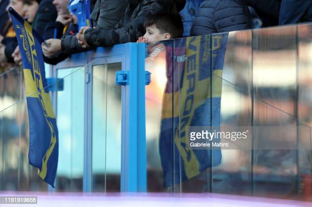 A flag of Hellas Verona during the Serie A match between SPAL and Hellas Verona at Stadio Paolo Mazza on January 5 2020 in Ferrara Italy