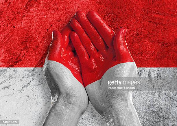 flag of indonesia painted on two hands together - indonesia flag stock photos and pictures