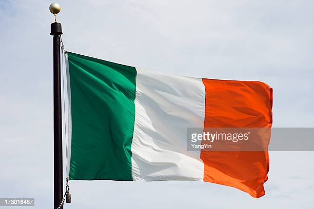 flag of ireland, national irish banner waving, rippling in wind - irish flag stock pictures, royalty-free photos & images