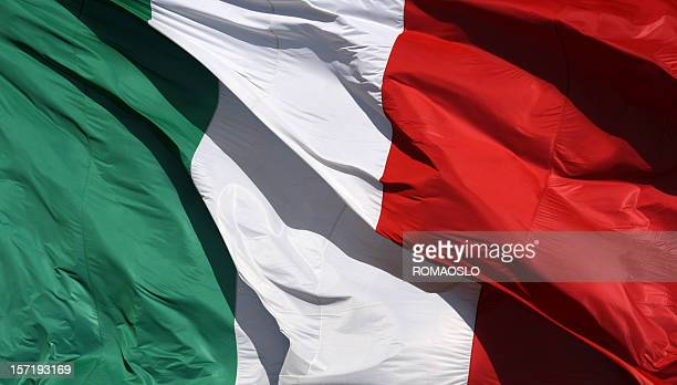 Flag of Italy with vertical strips of green, white and red