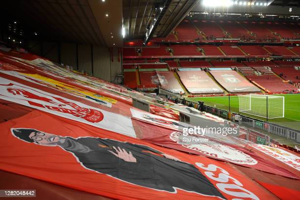 Flag of Jurgen Klopp is pictured in the Kop end of the stadium during the Premier League match between Liverpool and Sheffield United at Anfield on...