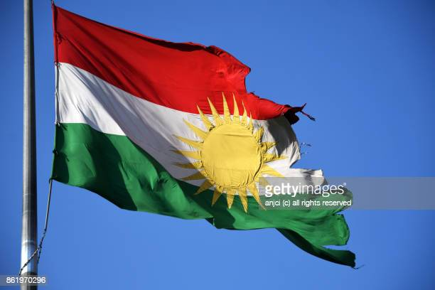 Flag of Kurdistan Region in Azadi Park, Sulaymaniyah, Kurdistan Region, Iraq