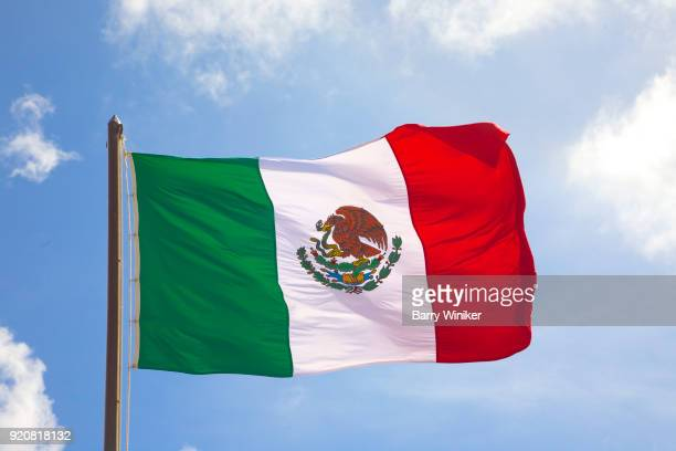 Flag of Mexico blowing in the wind against sky in Mahahual, Mexico