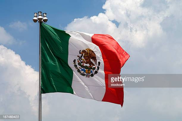 Flag of Mexico with blue sky