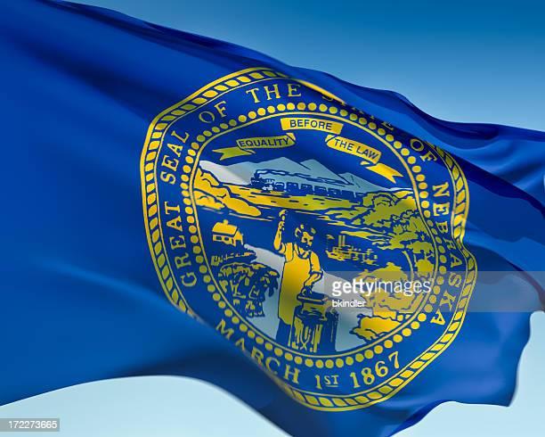 flag of nebraska - nebraska stock photos and pictures