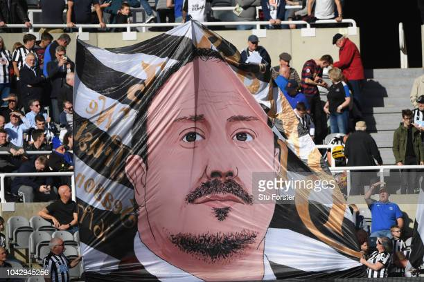 A flag of Newcastle manager Rafa Benitez is unfurled in the Leazes end during the Premier League match between Newcastle United and Leicester City at...