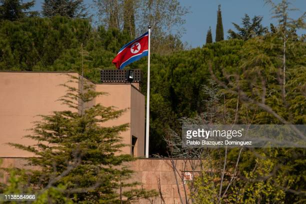 A flag of North Korea waves in the wind on a post at the North Korean Embassy on March 27 2019 in Madrid Spain The North Korean Embassy was raided...