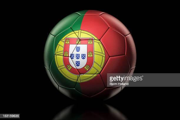 flag of portugal on soccer ball - bandeira de portugal imagens e fotografias de stock