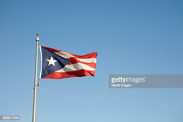 flag of puerto rico - flagpole stock pictures, royalty-free photos & images