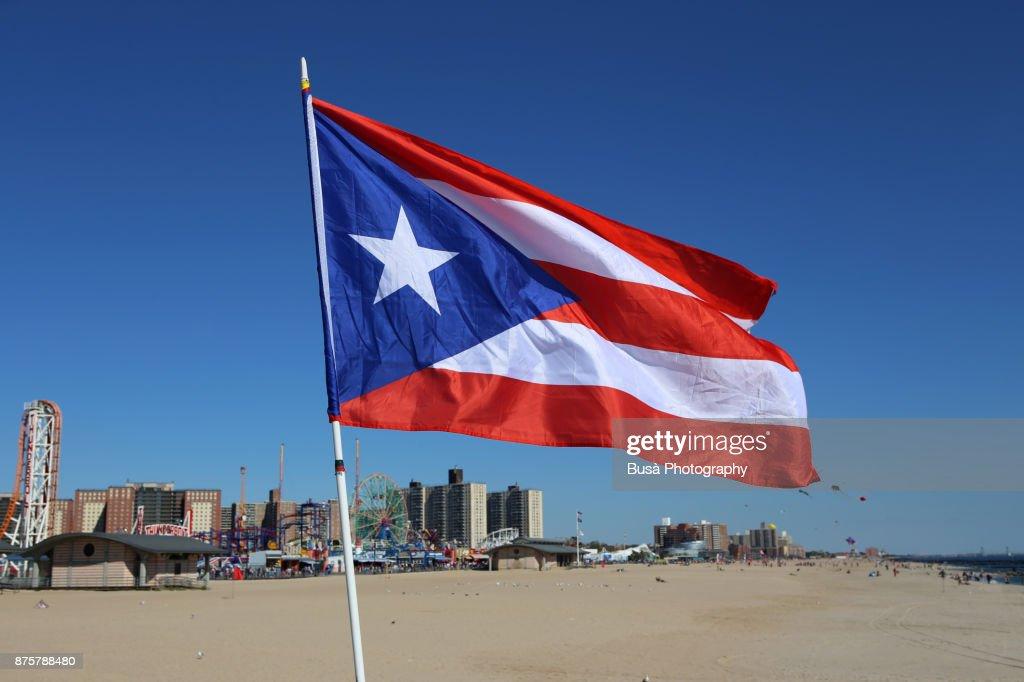 Flag Of Puerto Rico Waving By The Beach In Coney Island Brooklyn New York