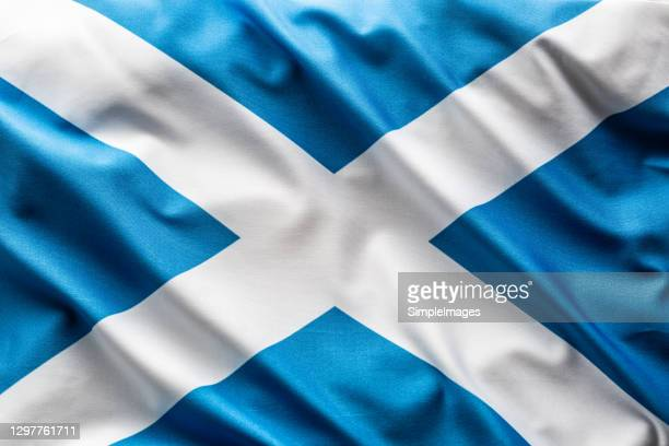 flag of scotland blowing in the wind. - scotland stock-fotos und bilder