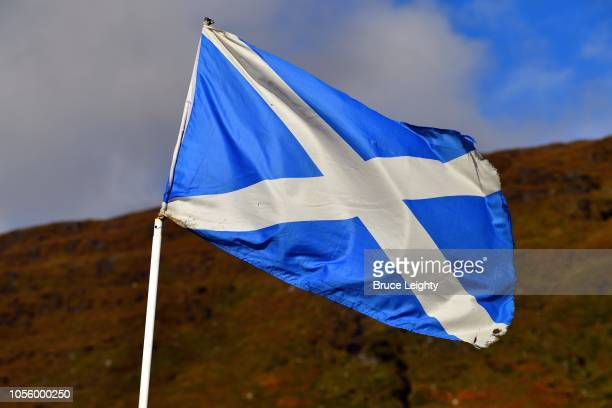 flag of scotland in the highlands - scotland flag stock photos and pictures