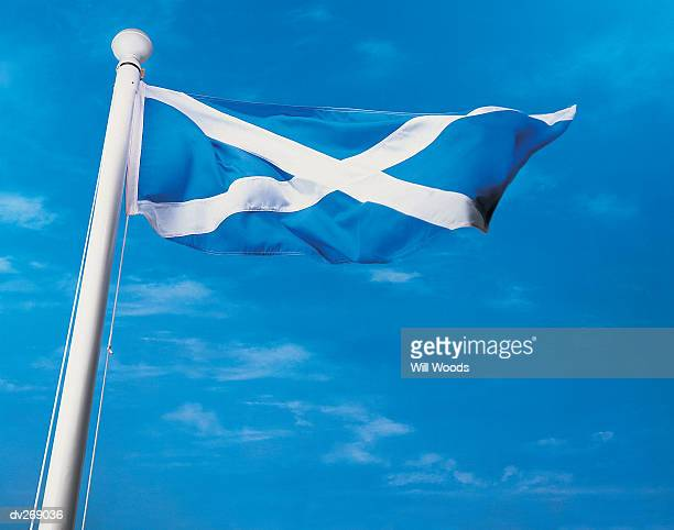 Flag of Scotland on flagpole waving in the wind