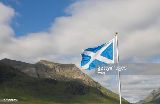 Flag of Scotland over Glencoe