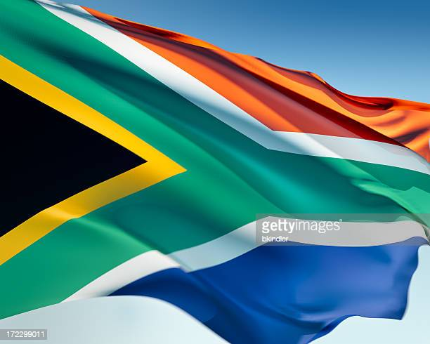 flag of south africa waving in the wind - south african flag stock photos and pictures
