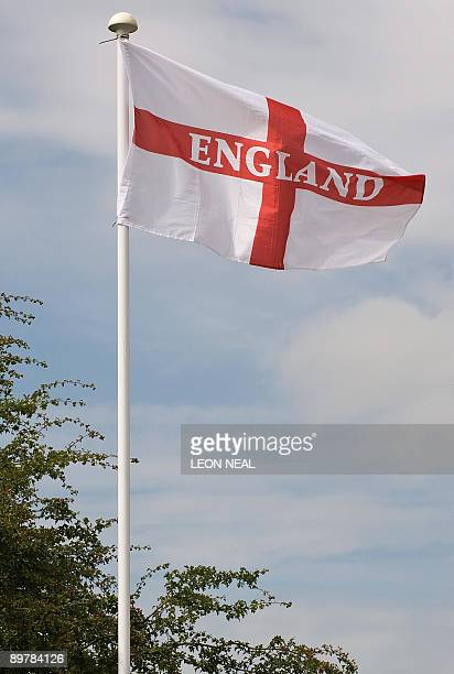 "Flag of St George or 'England flag' flies above the site in Denby, Derbyshire, where the British National Party's tenth annual ""Red, White and Blue..."