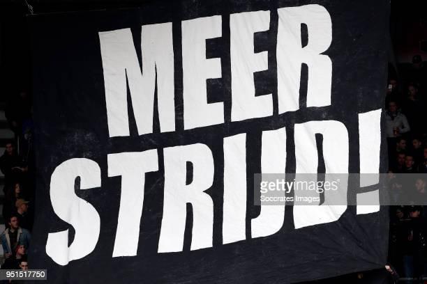 flag of supporters of NEC Nijmegen during the Dutch Jupiler League match between NEC Nijmegen v Telstar at the Goffert Stadium on April 2 2018 in...