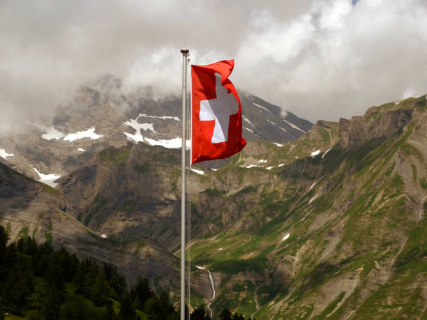 Flag of Switzerland in the mountains, Sion, Switzerland