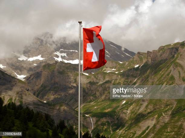 flag of switzerland in the mountains, sion, switzerland - sion switzerland stock pictures, royalty-free photos & images