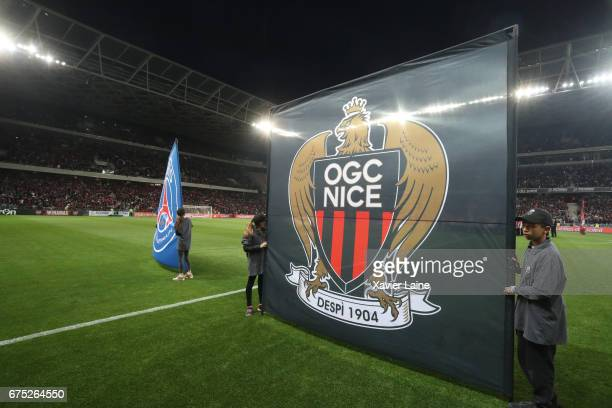 A flag of team Paris SaintGermain and OGC Nice during the French Ligue 1 match between OGC Nice and Paris SaintGermain at Allianz Arena on April 30...