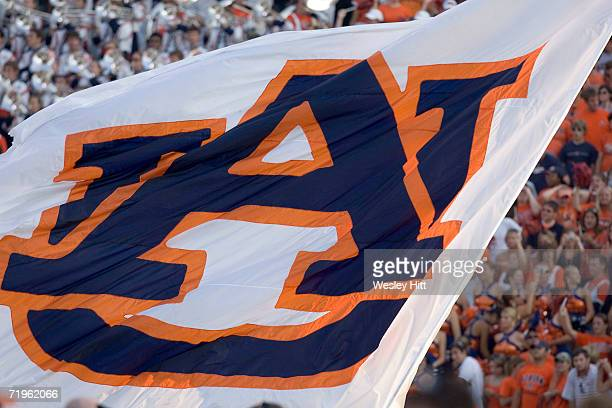 Flag of the Auburn Tigers during a game against the LSU Tigers on September 16 2006 at JordanHare Stadium in Auburn Alabama The Auburn Tigers...