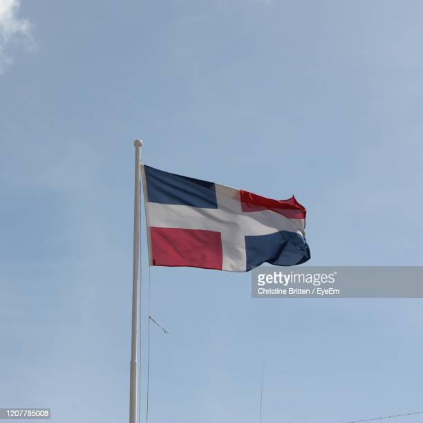 flag of the dominican republic - dominican republic flag stock pictures, royalty-free photos & images