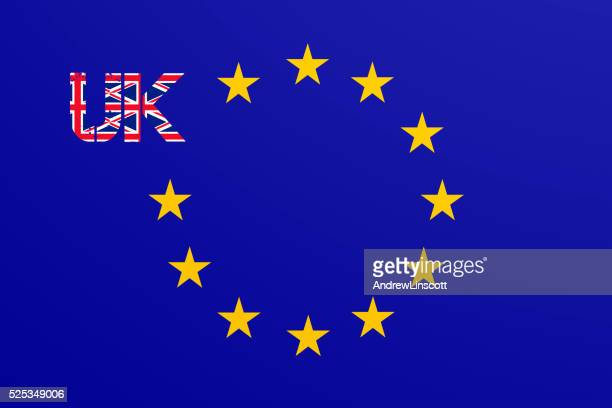 Flag of the European Union with UK flag