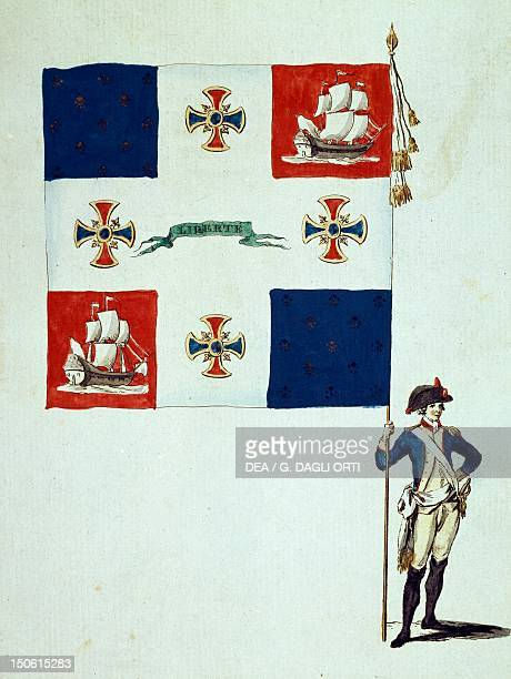 Flag of the Mathurins battalion French Revolution France 18th century