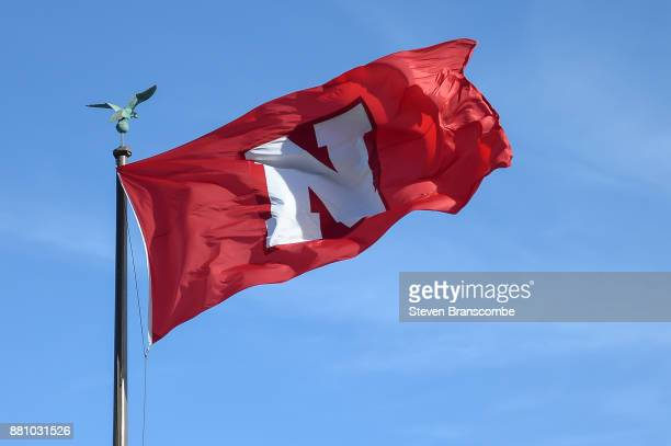 A flag of the Nebraska Cornhuskers flys before the game against the Iowa Hawkeyes at Memorial Stadium on November 24 2017 in Lincoln Nebraska
