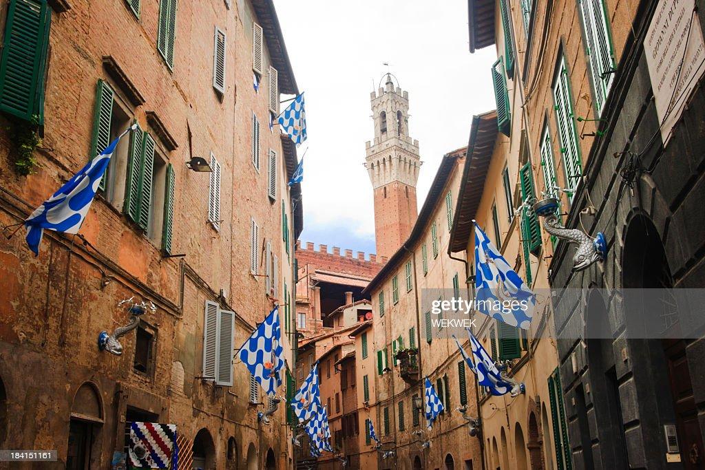 Banderas de la Onda (fase) Contrada, Siena, Toscana, Italia : Foto de stock