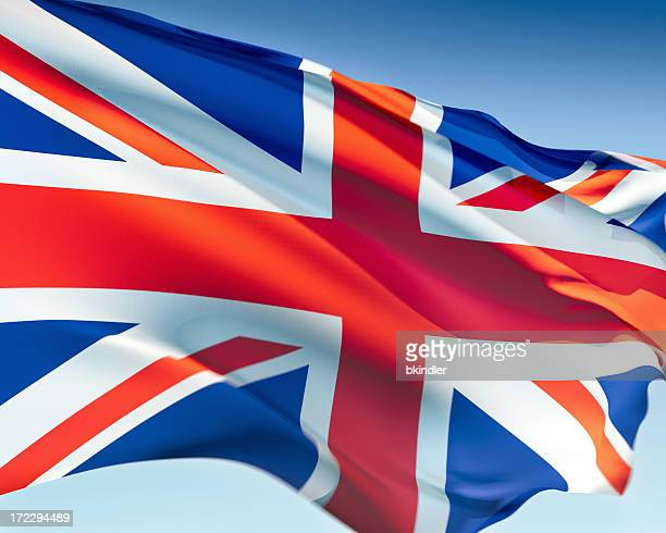Flag of the United Kingdom in the wind behind a blue sky