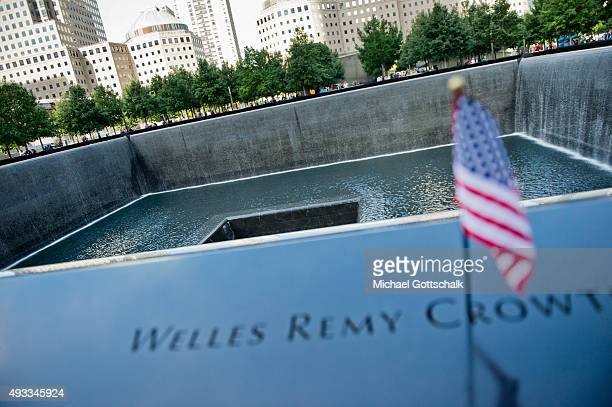 A flag of the US at Ground Zero memorial on September 26 2015 in New York United States