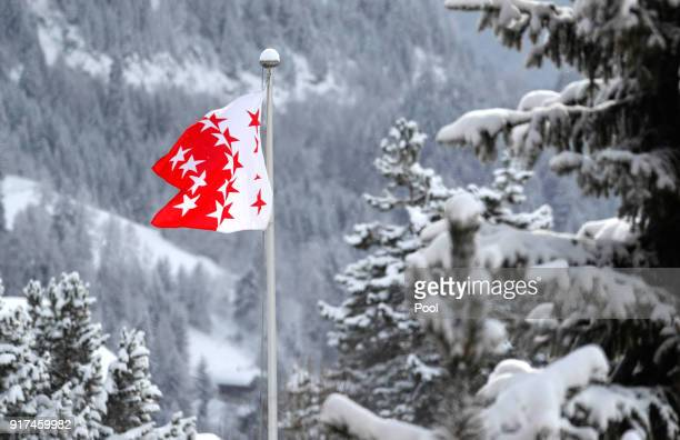 A flag of Wallis is seen during skiing holidays of the Belgium Royal family on February 12 2018 in Verbier Switzerland