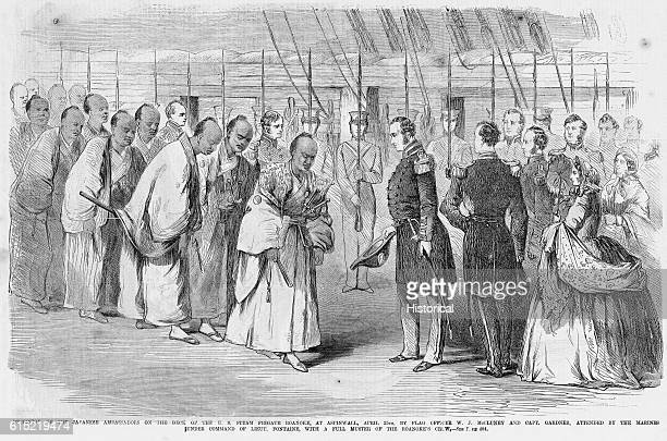 Flag officer WJ McCluney and chief interpreter Captain William H Gardner meet a group of ambassadors from Japan The meeting took place at Aspinwall...