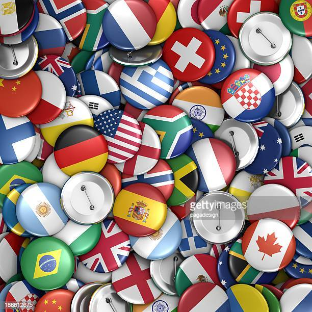 flag on badges background - flags of the world stock photos and pictures