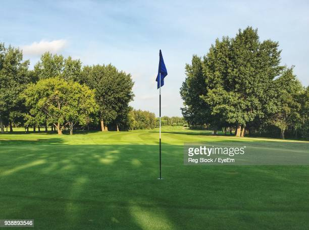 flag on golf field against sky - green golf course stock photos and pictures