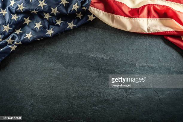 usa flag on grey background with copy space. - star shape stock pictures, royalty-free photos & images