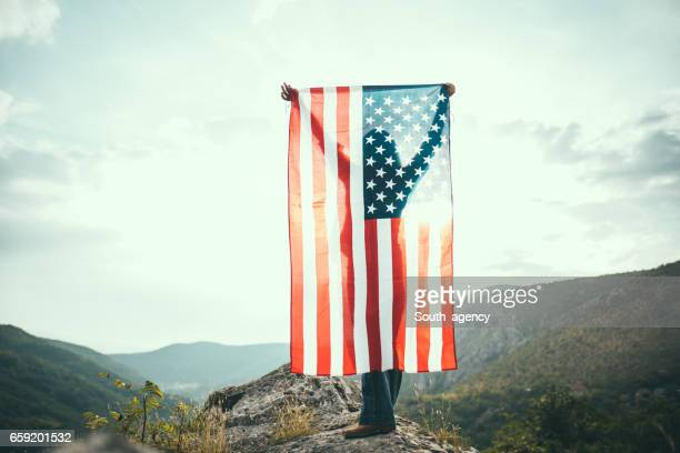 US flag on mountain
