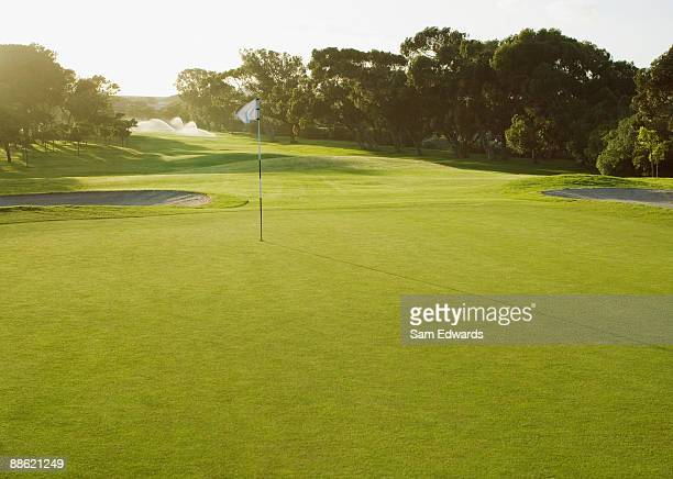 flag on putting green of golf course - golf stock pictures, royalty-free photos & images