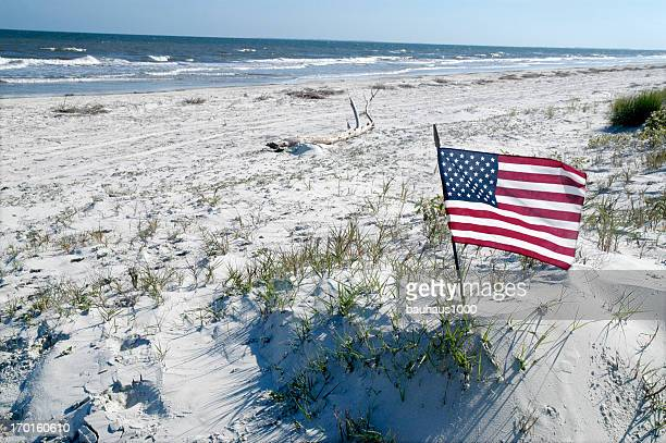flag on the beach - flag day stock pictures, royalty-free photos & images