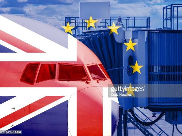 eu uk flag overlaying aeroplane plane cockpit scene. concept piece showing eu banning uk flights, travel, transportation and cargo from entering their countries - prime minister stock pictures, royalty-free photos & images