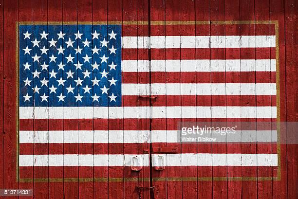 US flag painted on barn